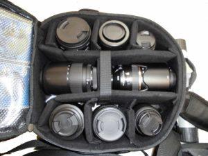 カメラバッグの中の撮影機材